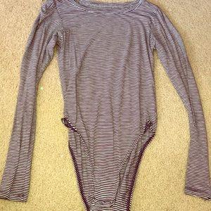 Aerie long sleeve striped bodysuit
